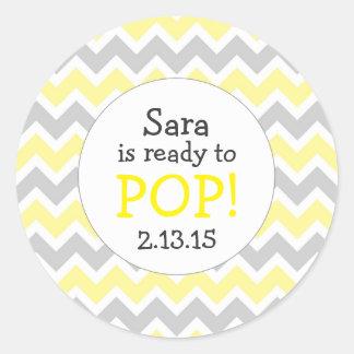 Ready to Pop Baby Shower Favor / yellow chevron Round Sticker