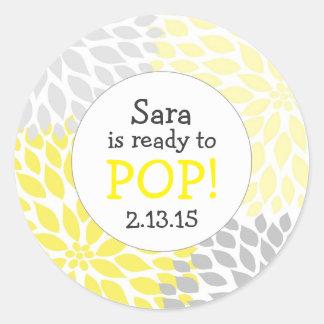 Ready to Pop Baby Shower Favor / yellow dahlia mum Classic Round Sticker