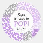 Ready to Pop Baby Shower Favour / purple dahlia Round Sticker
