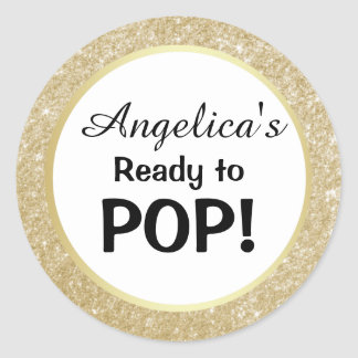 Ready to Pop Baby Shower White Gold Glitter Classic Round Sticker