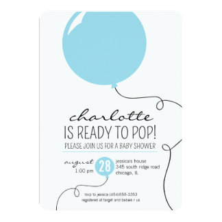 Ready to Pop Blue Balloon Boy Baby Shower Invite