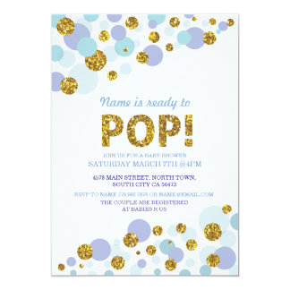Ready to Pop Boy Baby Shower Blue Gold Invite