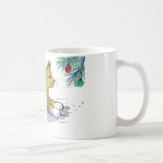 Ready to Pounce, Tiger Cat and Ornaments Coffee Mug
