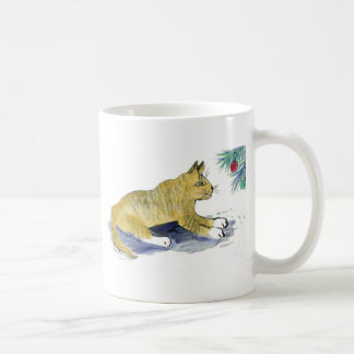 Ready to Pounce, Tiger Cat and Ornaments Mug