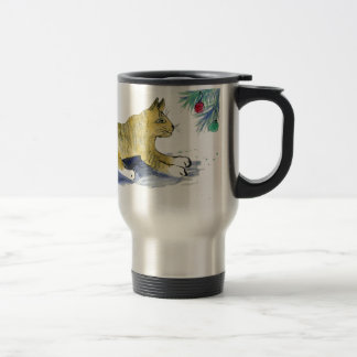 Ready to Pounce, Tiger Cat and Ornaments Travel Mug