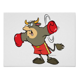 ready to punch bullfighter bull cartoon posters
