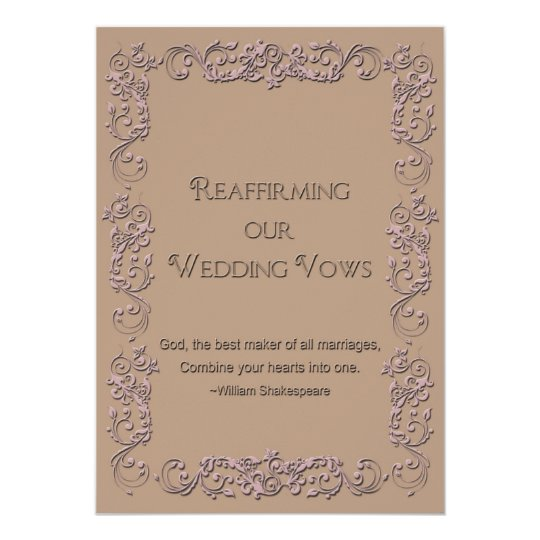 Reaffirmation of Vows - Beige - Rose Faux Embossed Card