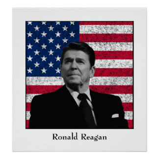 Reagan and The American Flag Posters