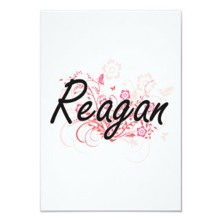 Reagan Artistic Name Design with Flowers 9 Cm X 13 Cm Invitation Card
