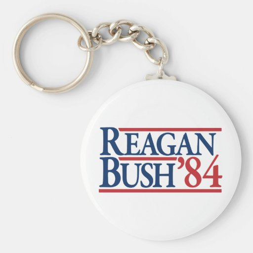 Reagan Bush 84 1984 vintage retro campaign Basic Round Button Key Ring