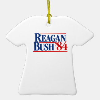 Reagan Bush '84 Campaign Double-Sided T-Shirt Ceramic Christmas Ornament