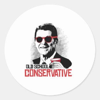 Reagan - Old School Conservative Round Sticker