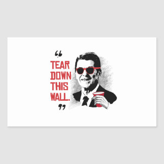 Reagan Quote - Tear Down This Wall Rectangular Sticker