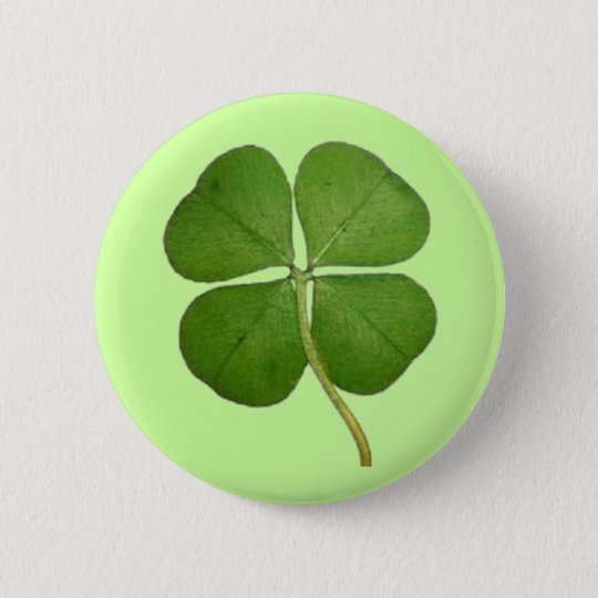 Real 4 Leaf Clover Shamrock 6 Cm Round Badge