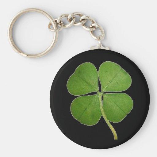 Real 4 Leaf Clover Shamrock Black Key Chain