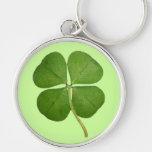 Real 4 Leaf Clover Shamrock Silver-Colored Round Key Ring