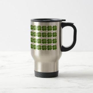 Real 4 Leaf Clover Shamrock Travel Stainless Steel Travel Mug
