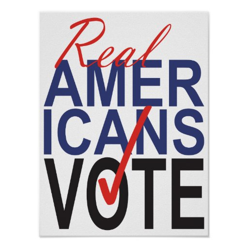 Real Americans Vote Checkmark Red Blue Poster Art