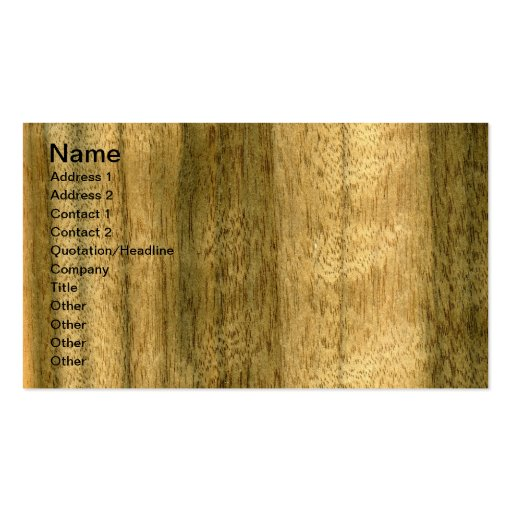 Real Australian Walnut Veneer Woodgrain Business Cards