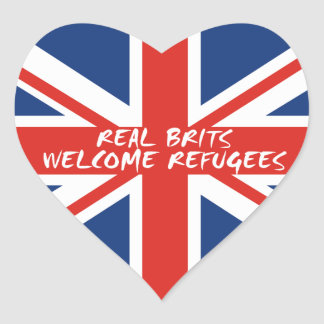 Real Brits Welcome Refugees Heart Sticker