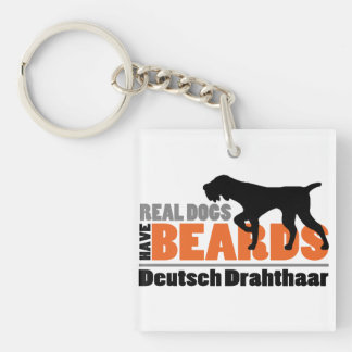Real Dogs Have Beards - Deutsch Drahthaar Key Ring