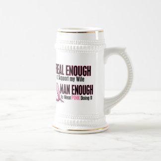 Real Enough Man Enough 1 Wife Breast Cancer Mug