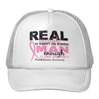 Real Enough Man Enough Grandma 2 Breast Cancer Mesh Hats
