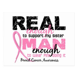 Real Enough Man Enough Sister 2 Breast Cancer Postcard