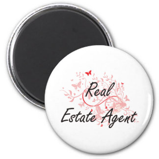Real Estate Agent Artistic Job Design with Butterf 6 Cm Round Magnet