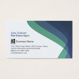 Real Estate Agent Blue Hued Streams Professional Business Card