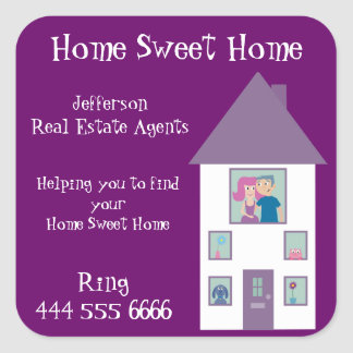 Real Estate Agent Home Sweet Home Square Sticker