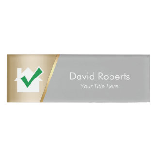 Real Estate Agent House Icon Modern Gold Name Tag