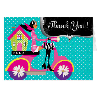 Real Estate Agent House Scooter Girl Dots Thank Yo Card