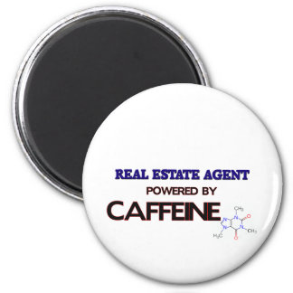 Real Estate Agent Powered by caffeine 6 Cm Round Magnet
