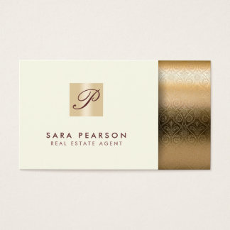 Real Estate Agent PropertyInvestment Gold Monogram Business Card