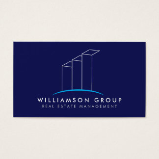 Real Estate, Architect, Building Logo on Blue Business Card