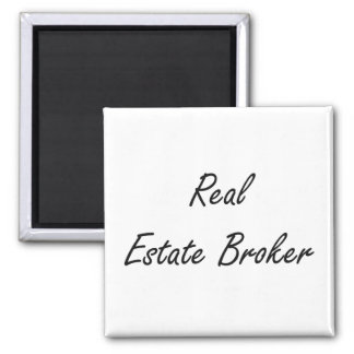 Real Estate Broker Artistic Job Design Square Magnet