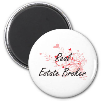 Real Estate Broker Artistic Job Design with Hearts 6 Cm Round Magnet