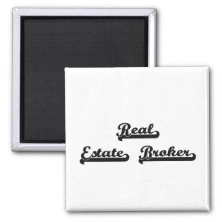 Real Estate Broker Classic Job Design Square Magnet