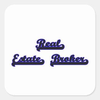 Real Estate Broker Classic Job Design Square Sticker