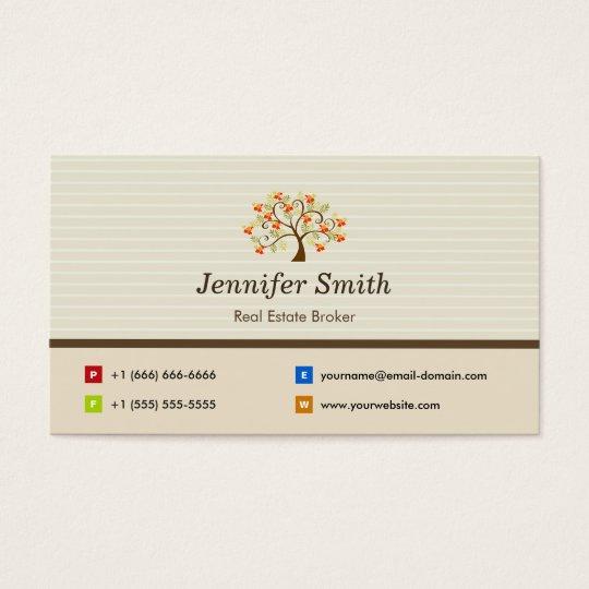 Real Estate Broker - Elegant Tree Symbol Business Card
