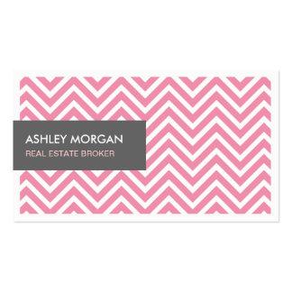 Real Estate Broker - Light Pink Chevron Zigzag Pack Of Standard Business Cards