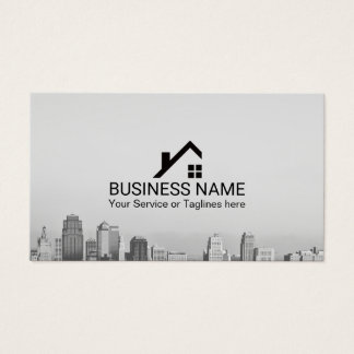 Skyline real estate business cards business card printing real estate broker modern city skyline business card reheart Image collections