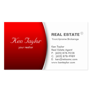 Real Estate Business Card Round Red Silver