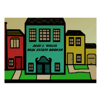 Real Estate city buildings home office Business Card Template