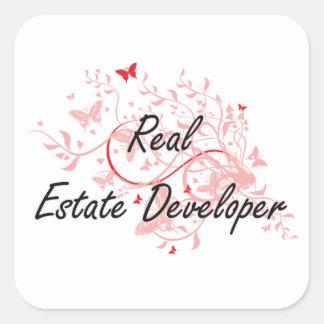 Real Estate Developer Artistic Job Design with But Square Sticker
