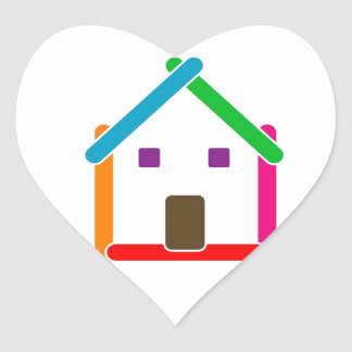 Real estate house heart sticker