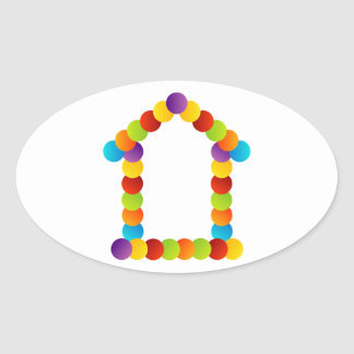Real estate house oval sticker