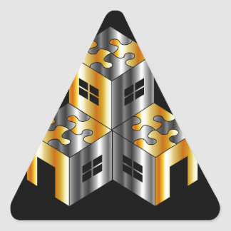 real estate market with puzzle roof triangle sticker