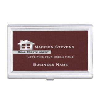 Real Estate Maroon Silver Business Card Holder